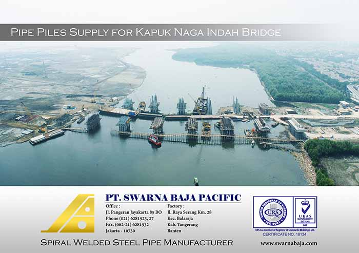 Pipe Pile Supply for Kapuk Naga Indah Bridge by PT. Waskita Karya (Persero) Tbk